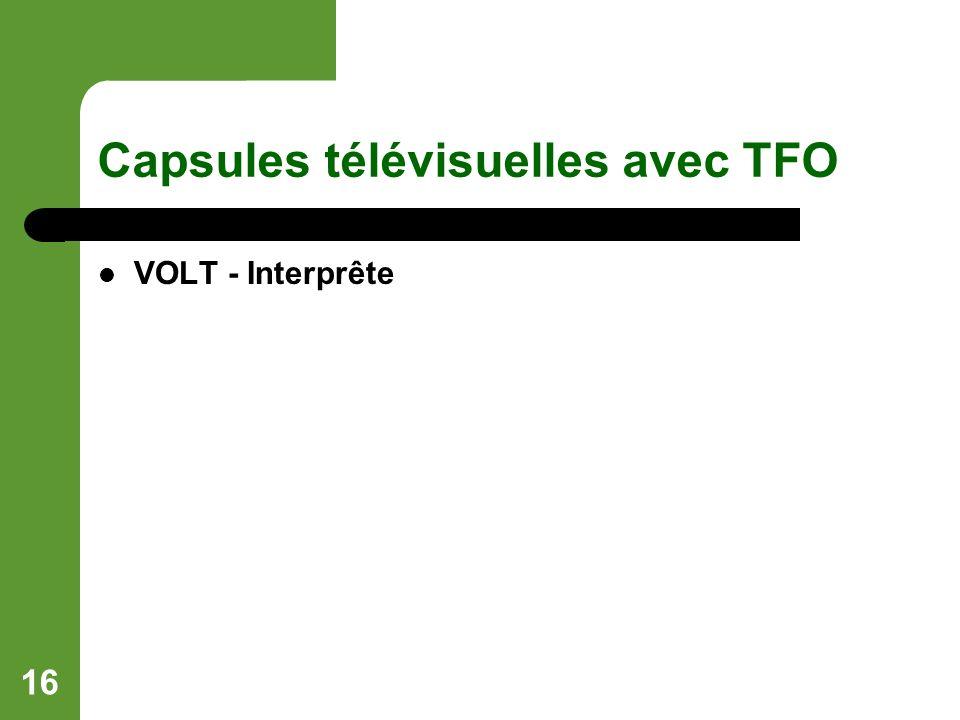 16 Capsules télévisuelles avec TFO VOLT - Interprête