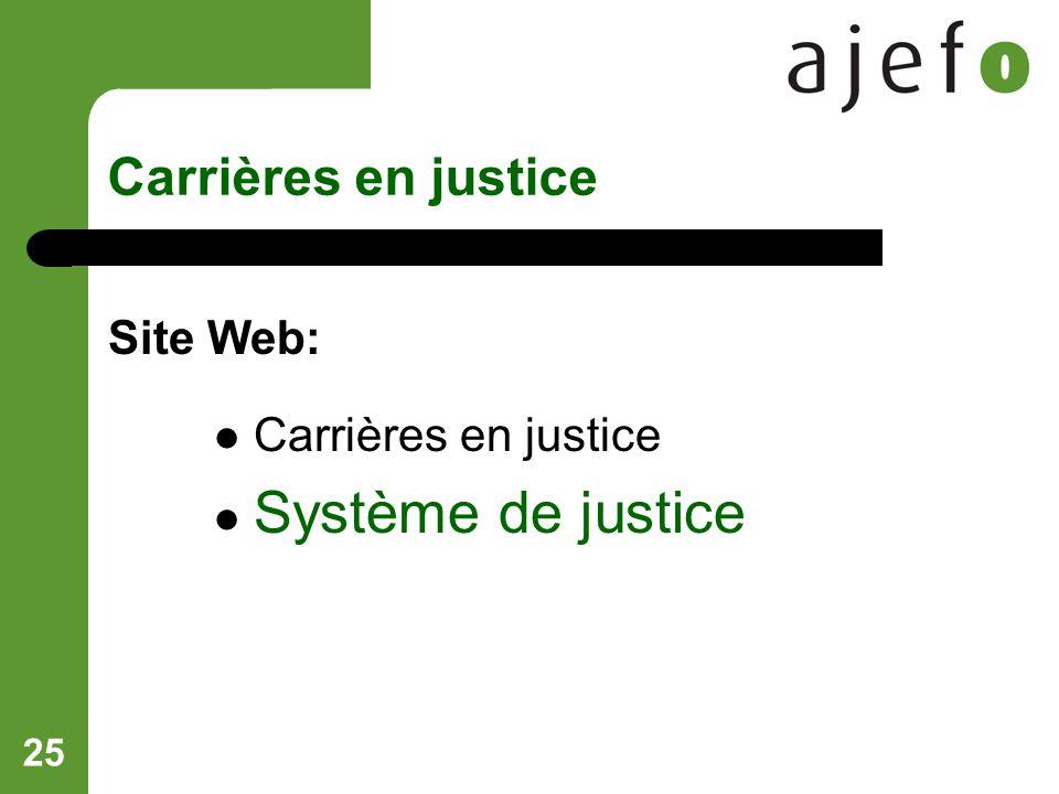 25 Carrières en justice Site Web: Carrières en justice Système de justice