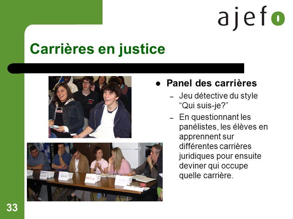 33 Carrières en justice Panel des carrières – Jeu détective du style Qui suis-je.