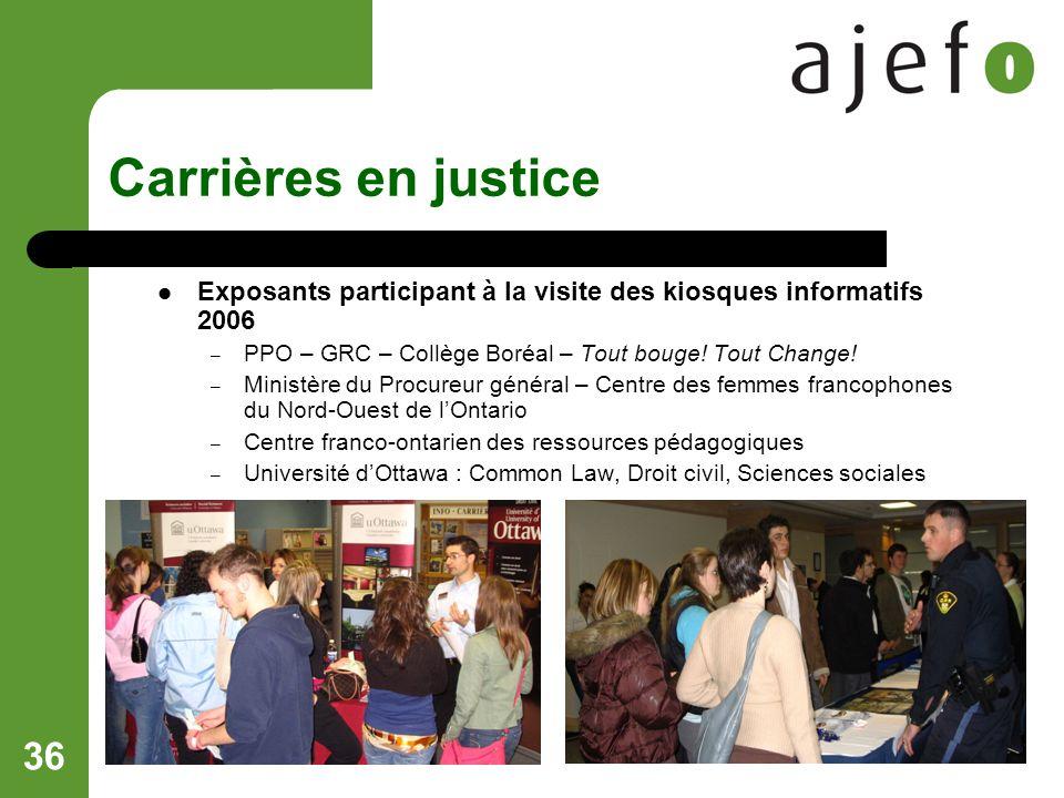 36 Carrières en justice Exposants participant à la visite des kiosques informatifs 2006 – PPO – GRC – Collège Boréal – Tout bouge.