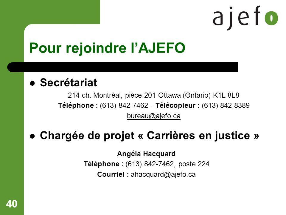40 Pour rejoindre lAJEFO Secrétariat 214 ch.