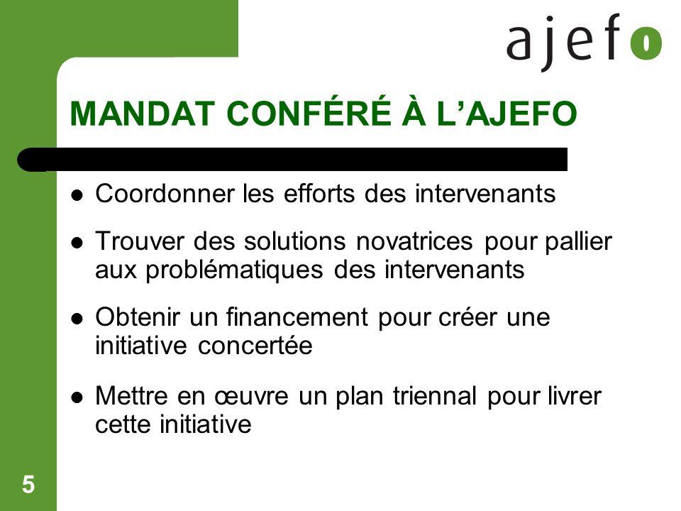 5 MANDAT CONFÉRÉ À LAJEFO Coordonner les efforts des intervenants Trouver des solutions novatrices pour pallier aux problématiques des intervenants Obtenir un financement pour créer une initiative concertée Mettre en œuvre un plan triennal pour livrer cette initiative
