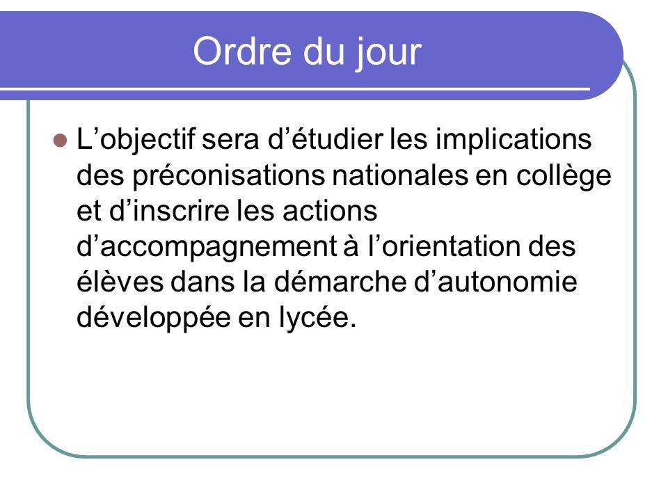 Ordre du jour Lobjectif sera détudier les implications des préconisations nationales en collège et dinscrire les actions daccompagnement à lorientatio