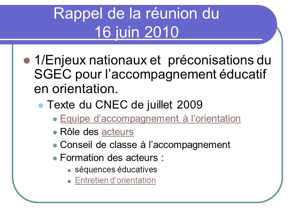 Rappel de la réunion du 16 juin 2010 1/Enjeux nationaux et préconisations du SGEC pour laccompagnement éducatif en orientation. Texte du CNEC de juill