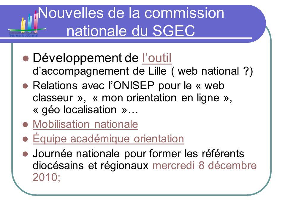 Nouvelles de la commission nationale du SGEC Développement de loutil daccompagnement de Lille ( web national ?)loutil Relations avec lONISEP pour le «