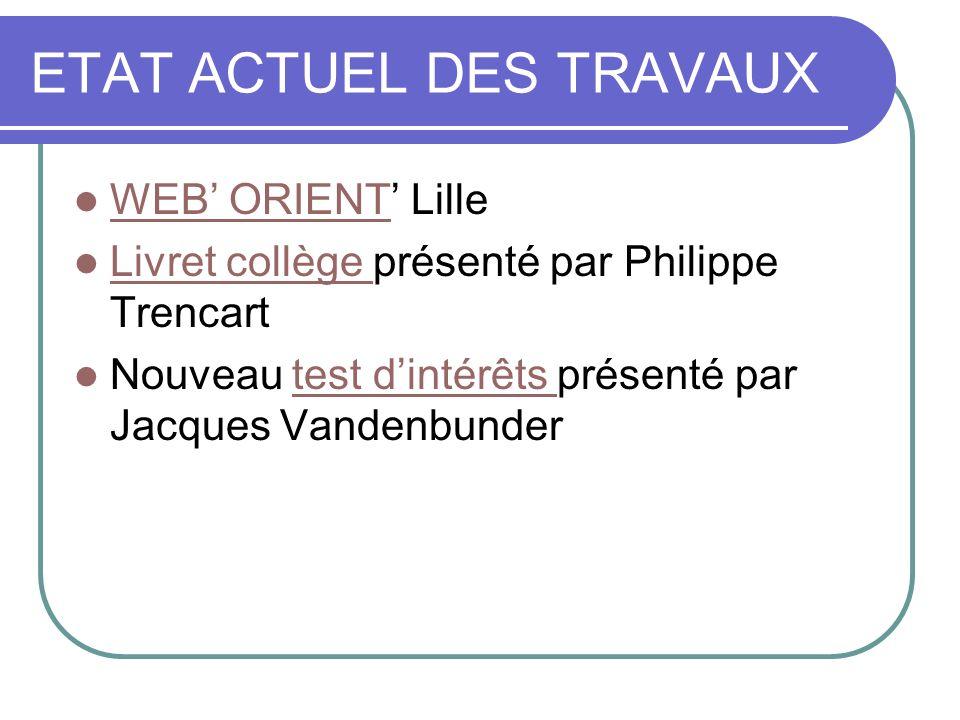 ETAT ACTUEL DES TRAVAUX WEB ORIENT Lille WEB ORIENT Livret collège présenté par Philippe Trencart Livret collège Nouveau test dintérêts présenté par Jacques Vandenbundertest dintérêts