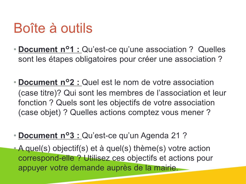 Boîte à outils Document n°1 : Quest-ce quune association ? Quelles sont les étapes obligatoires pour créer une association ? Document n°2 : Quel est l