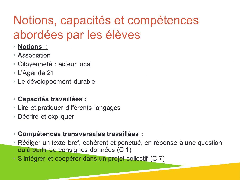 Notions, capacités et compétences abordées par les élèves Notions : Association Citoyenneté : acteur local LAgenda 21 Le développement durable Capacit