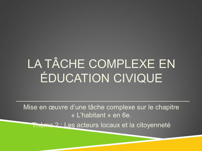 LA TÂCHE COMPLEXE EN ÉDUCATION CIVIQUE Mise en œuvre dune tâche complexe sur le chapitre « Lhabitant » en 6e. Thème 2 : Les acteurs locaux et la citoy