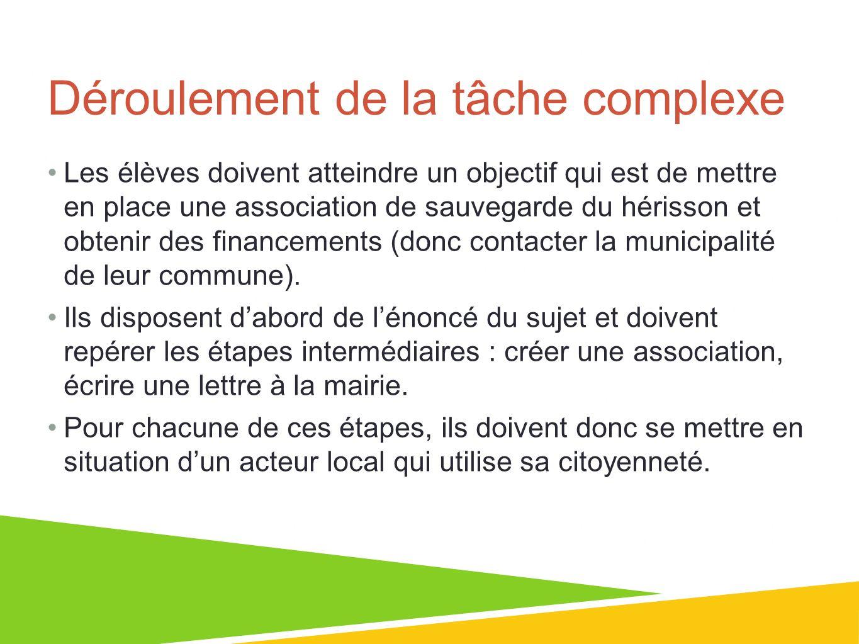 01/07/13 6 Déroulement de la tâche complexe Les élèves doivent atteindre un objectif qui est de mettre en place une association de sauvegarde du héris