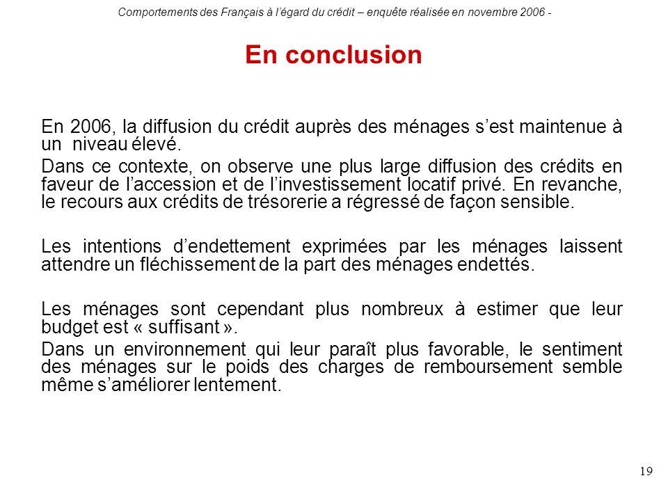 Comportements des Français à légard du crédit – enquête réalisée en novembre 2006 - 19 En 2006, la diffusion du crédit auprès des ménages sest maintenue à un niveau élevé.