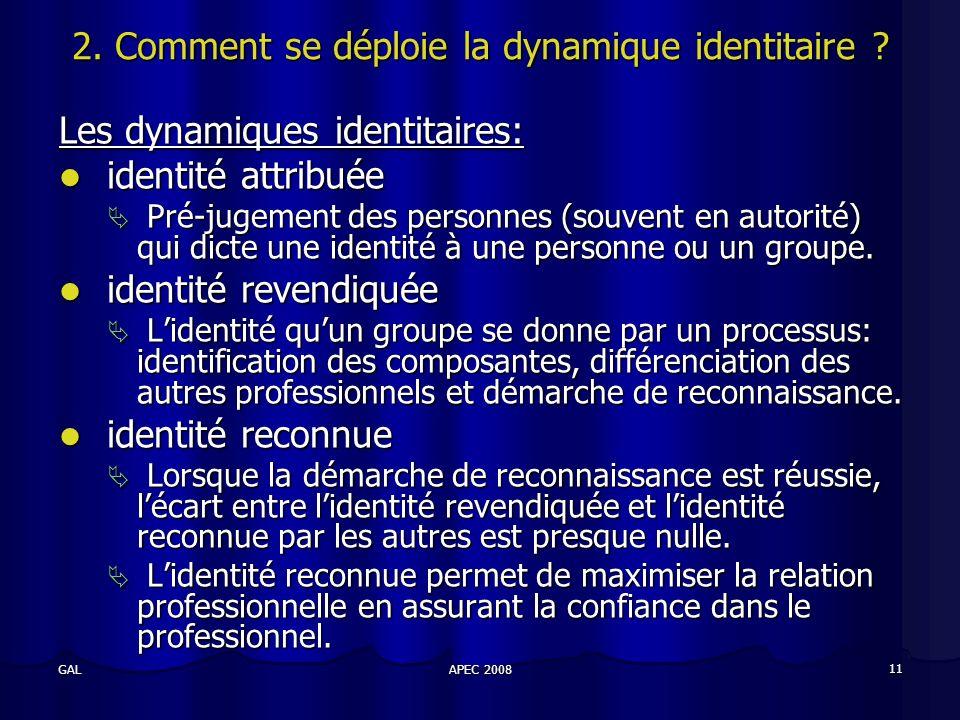 APEC 2008 11 GAL 2. Comment se déploie la dynamique identitaire .