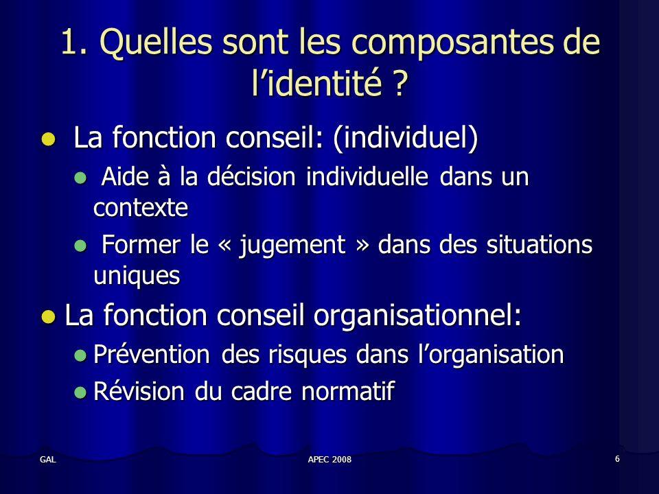 APEC 2008 6 GAL 1. Quelles sont les composantes de lidentité .