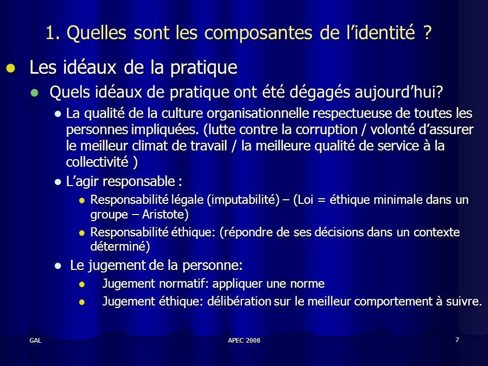 APEC 2008 7 GAL 1. Quelles sont les composantes de lidentité .
