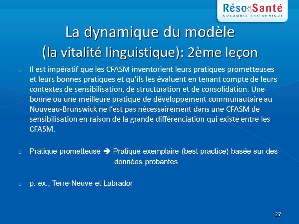 2727 La dynamique du modèle ( la vitalité linguistique): 2ème leçon o Il est impératif que les CFASM inventorient leurs pratiques prometteuses et leurs bonnes pratiques et quils les évaluent en tenant compte de leurs contextes de sensibilisation, de structuration et de consolidation.