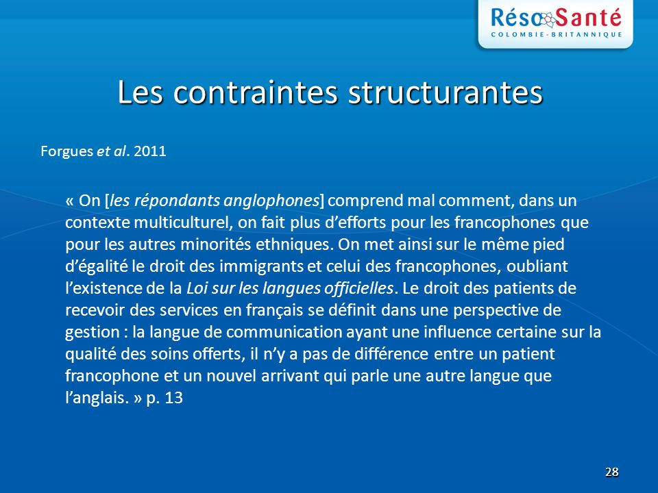2828 Les contraintes structurantes Forgues et al.