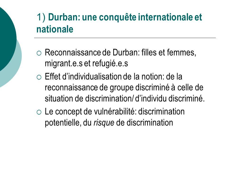 1) Durban: une conquête internationale et nationale Reconnaissance de Durban: filles et femmes, migrant.e.s et refugié.e.s Effet dindividualisation de la notion: de la reconnaissance de groupe discriminé à celle de situation de discrimination/ dindividu discriminé.