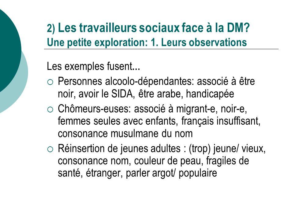 2) Les travailleurs sociaux face à la DM. Une petite exploration: 1.