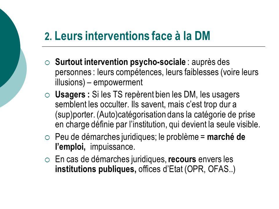 2. Leurs interventions face à la DM Surtout intervention psycho-sociale : auprès des personnes : leurs compétences, leurs faiblesses (voire leurs illu