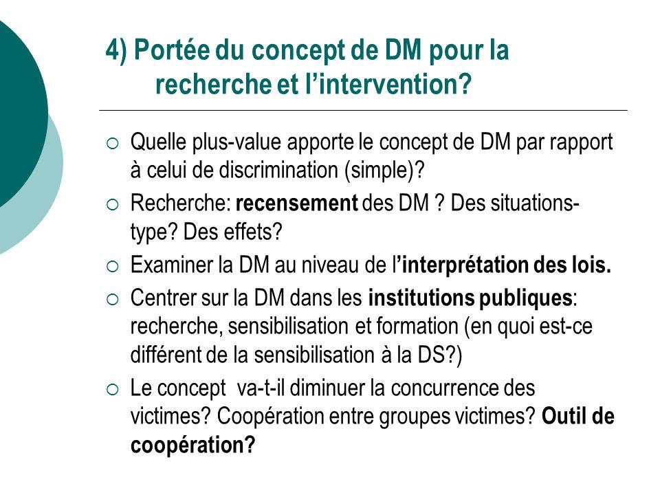 4) Portée du concept de DM pour la recherche et lintervention.