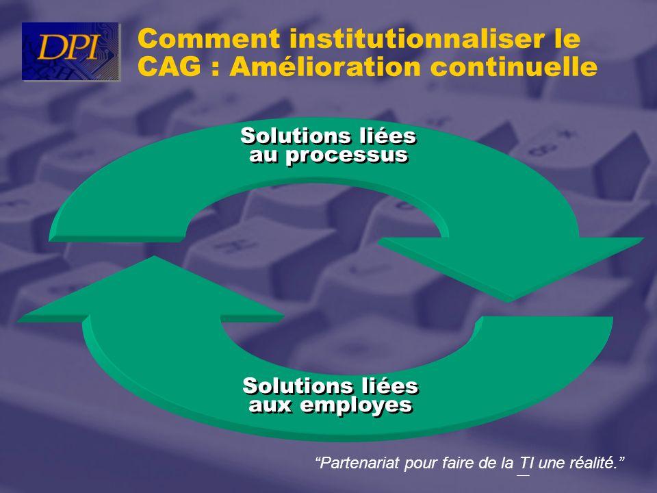 Partenariat pour faire de la TI une réalité. Solutions liées aux employes Solutions liées au processus Comment institutionnaliser le CAG : Amélioratio