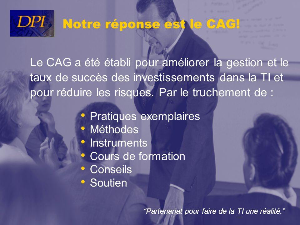 Partenariat pour faire de la TI une réalité. Notre réponse est le CAG! Pratiques exemplaires Méthodes Instruments Cours de formation Conseils Soutien