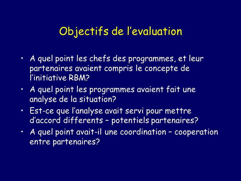 Objectifs de levaluation A quel point les chefs des programmes, et leur partenaires avaient compris le concepte de linitiative RBM.