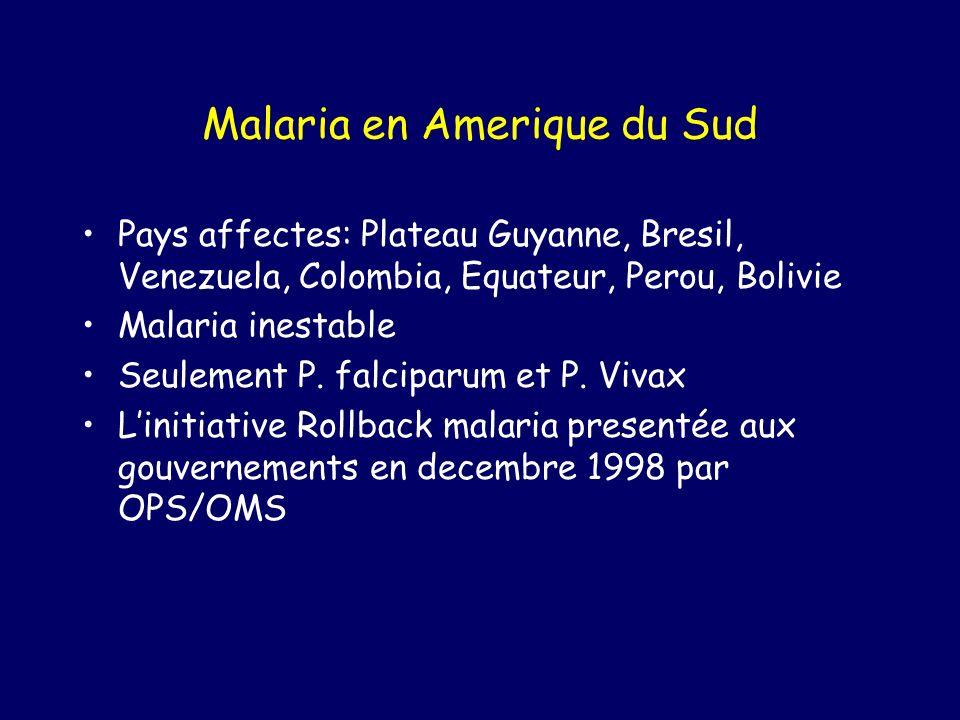 Malaria en Amerique du Sud Pays affectes: Plateau Guyanne, Bresil, Venezuela, Colombia, Equateur, Perou, Bolivie Malaria inestable Seulement P.