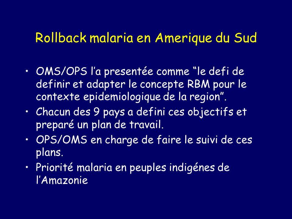Rollback malaria en Amerique du Sud OMS/OPS la presentée comme le defi de definir et adapter le concepte RBM pour le contexte epidemiologique de la region.