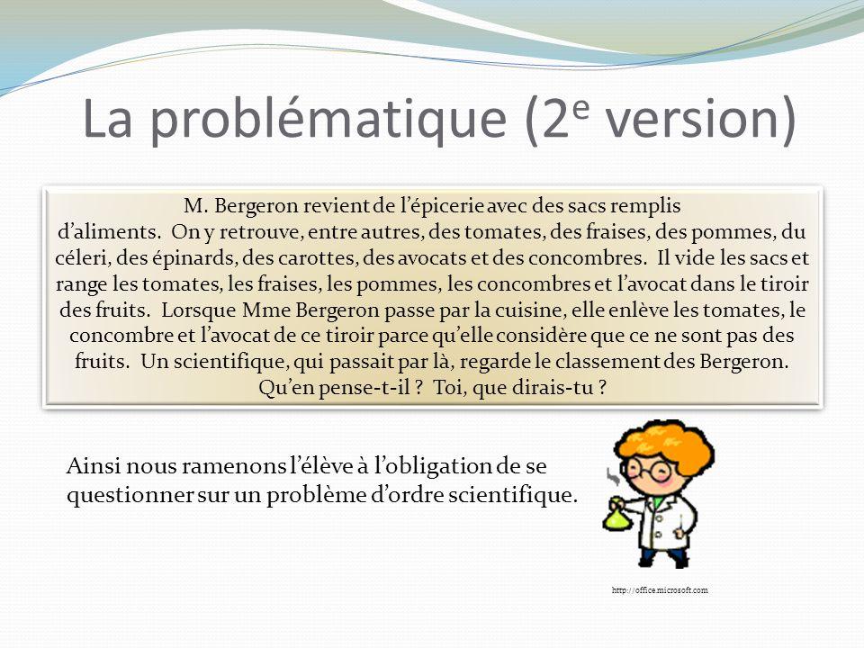 La problématique (2 e version) M. Bergeron revient de lépicerie avec des sacs remplis daliments.