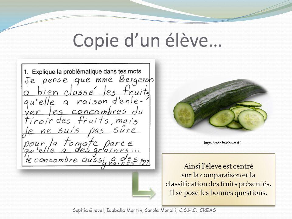 Copie dun élève… Ainsi lélève est centré sur la comparaison et la classification des fruits présentés.