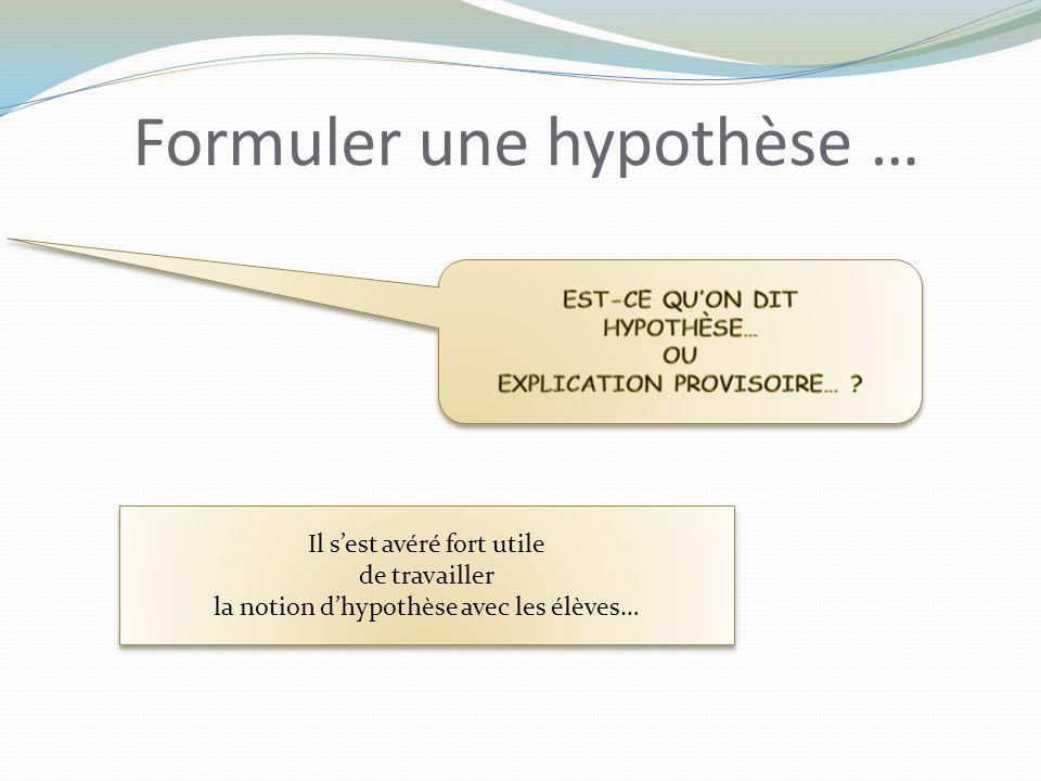 Formuler une hypothèse … Il sest avéré fort utile de travailler la notion dhypothèse avec les élèves… Il sest avéré fort utile de travailler la notion dhypothèse avec les élèves…