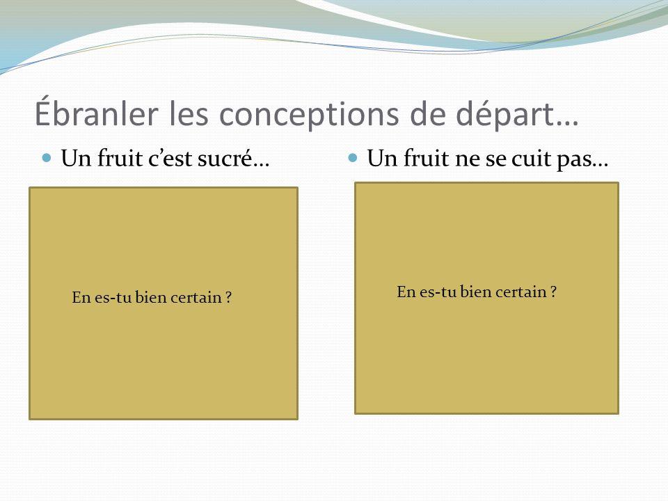 Un fruit cest sucré… Un fruit ne se cuit pas… Ébranler les conceptions de départ… http://www.consoglobe.com/ http://les-plaisirs-de-katman.over-blog.com/ En es-tu bien certain