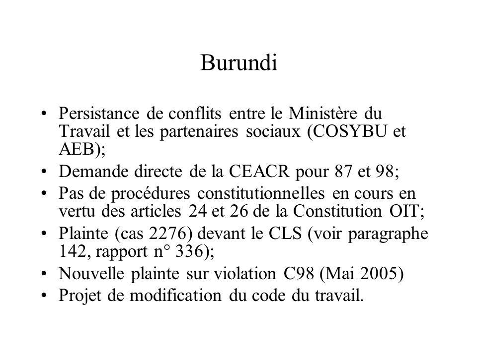 Burundi Persistance de conflits entre le Ministère du Travail et les partenaires sociaux (COSYBU et AEB); Demande directe de la CEACR pour 87 et 98; P
