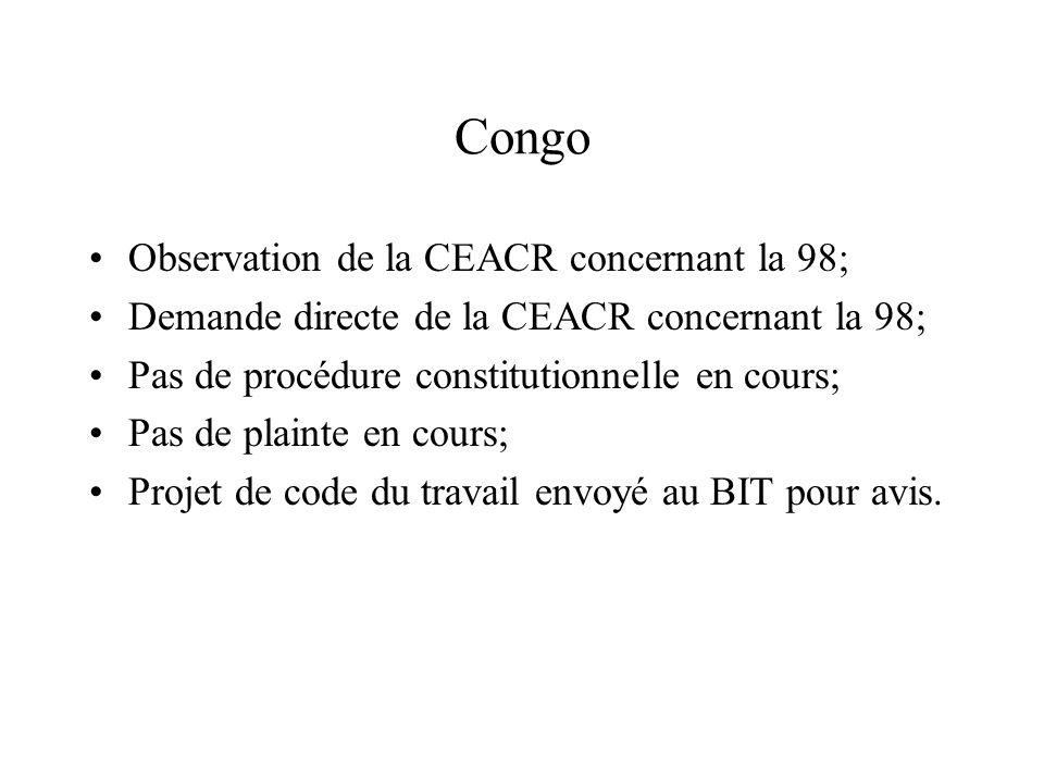 Congo Observation de la CEACR concernant la 98; Demande directe de la CEACR concernant la 98; Pas de procédure constitutionnelle en cours; Pas de plai