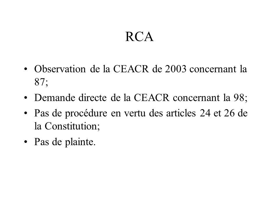 RCA Observation de la CEACR de 2003 concernant la 87; Demande directe de la CEACR concernant la 98; Pas de procédure en vertu des articles 24 et 26 de