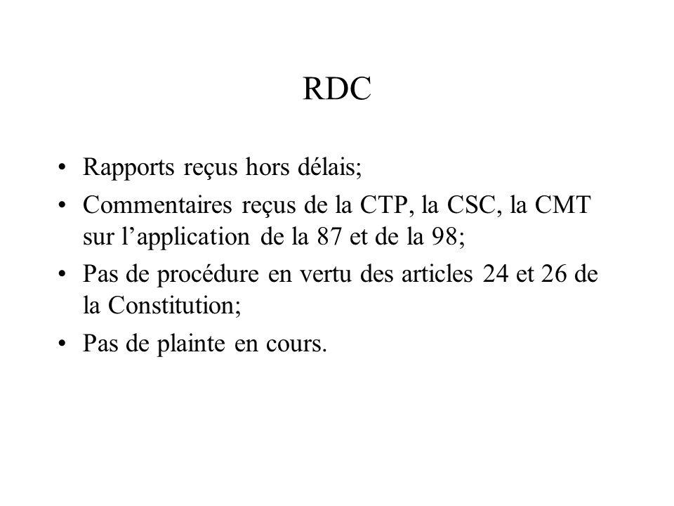 RDC Rapports reçus hors délais; Commentaires reçus de la CTP, la CSC, la CMT sur lapplication de la 87 et de la 98; Pas de procédure en vertu des arti