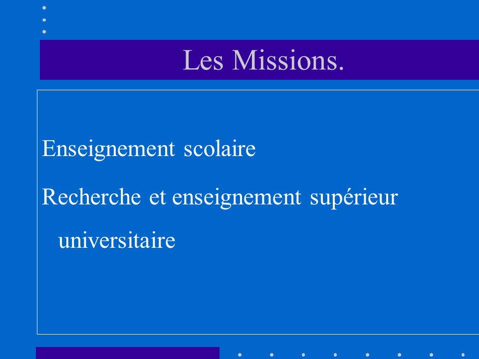 Les Missions. Enseignement scolaire Recherche et enseignement supérieur universitaire