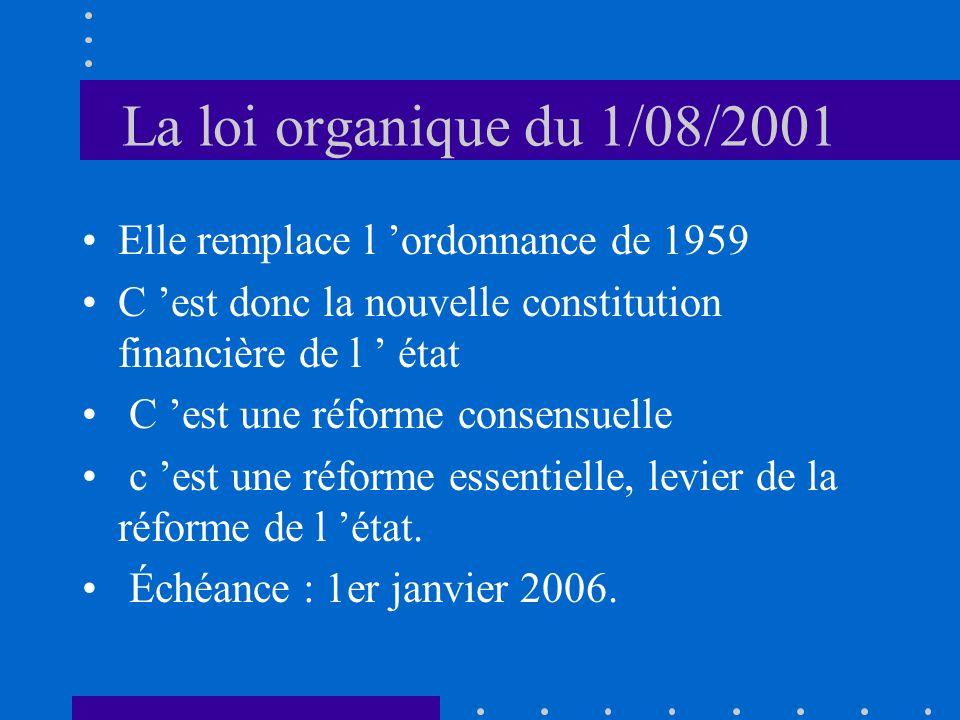 La loi organique du 1/08/2001 Elle remplace l ordonnance de 1959 C est donc la nouvelle constitution financière de l état C est une réforme consensuelle c est une réforme essentielle, levier de la réforme de l état.