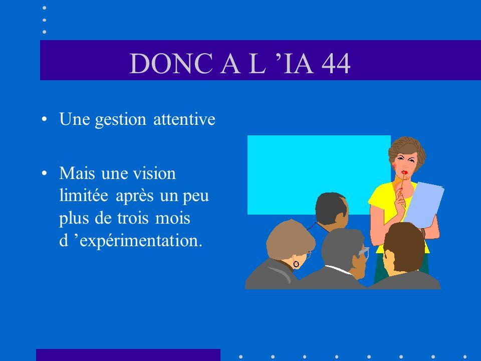 DONC A L IA 44 Une gestion attentive Mais une vision limitée après un peu plus de trois mois d expérimentation.