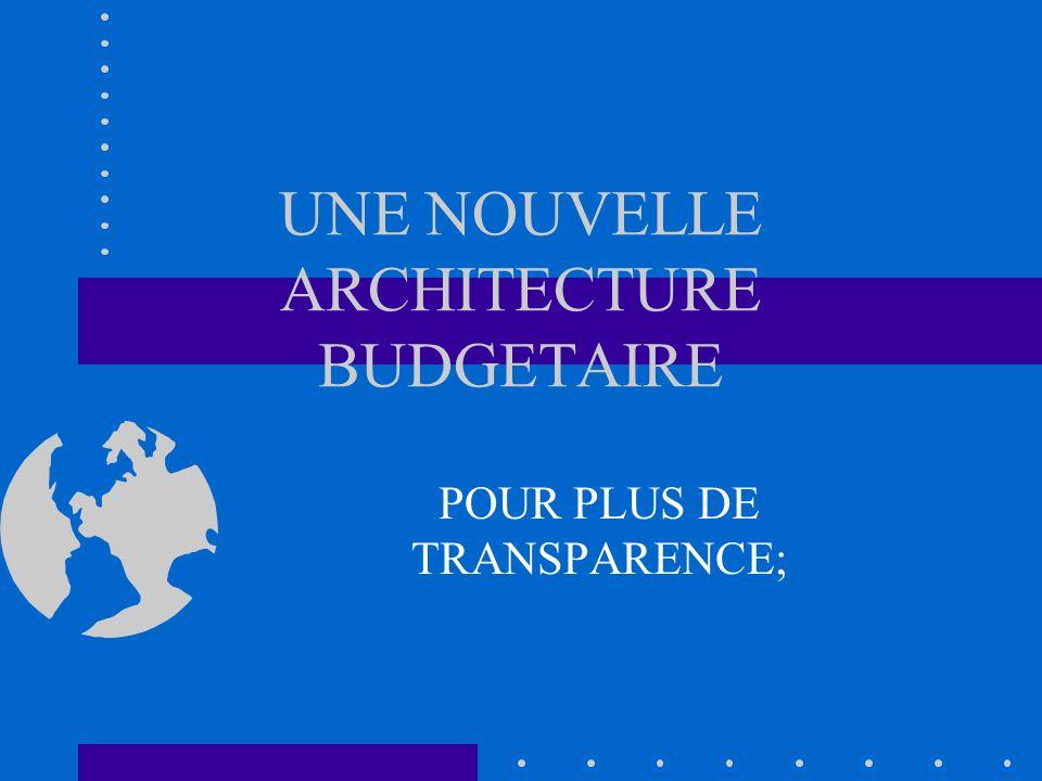 UNE NOUVELLE ARCHITECTURE BUDGETAIRE POUR PLUS DE TRANSPARENCE;