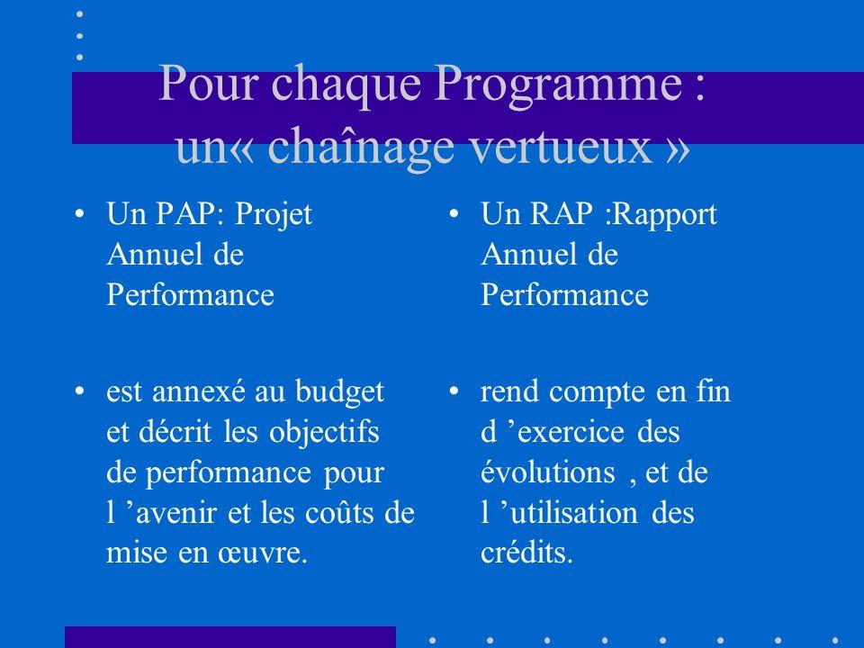 Pour chaque Programme : un« chaînage vertueux » Un PAP: Projet Annuel de Performance est annexé au budget et décrit les objectifs de performance pour l avenir et les coûts de mise en œuvre.