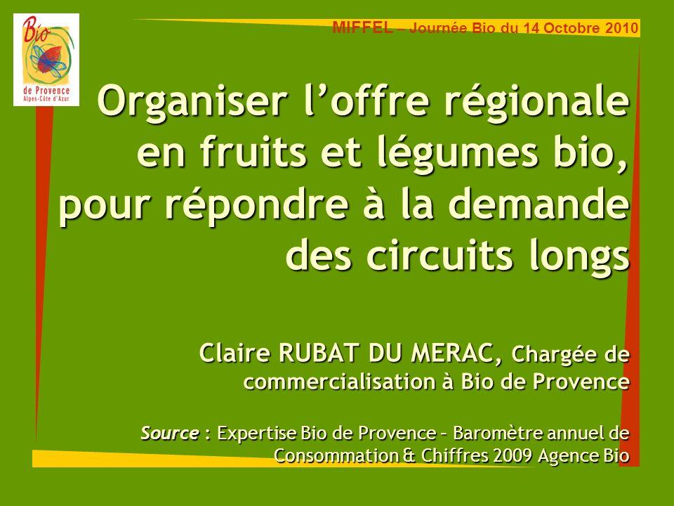 Organiser loffre régionale en fruits et légumes bio, pour répondre à la demande des circuits longs Claire RUBAT DU MERAC, Chargée de commercialisation