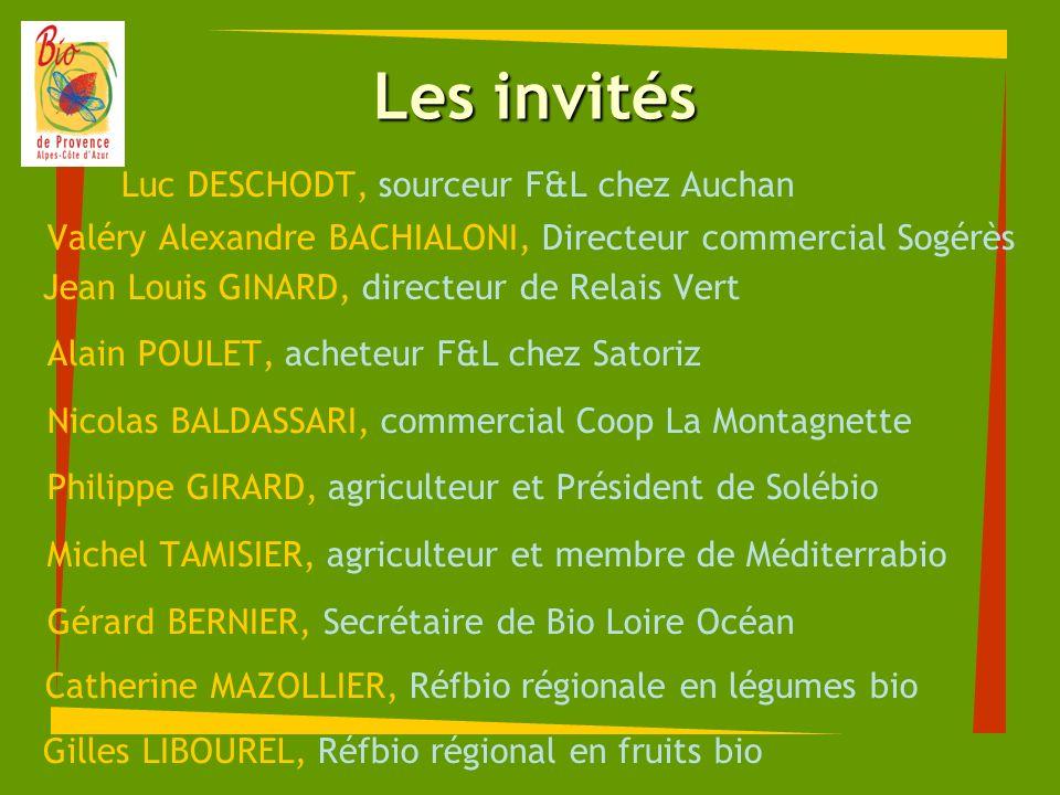 Les invités Luc DESCHODT, sourceur F&L chez Auchan Valéry Alexandre BACHIALONI, Directeur commercial Sogérès Jean Louis GINARD, directeur de Relais Ve