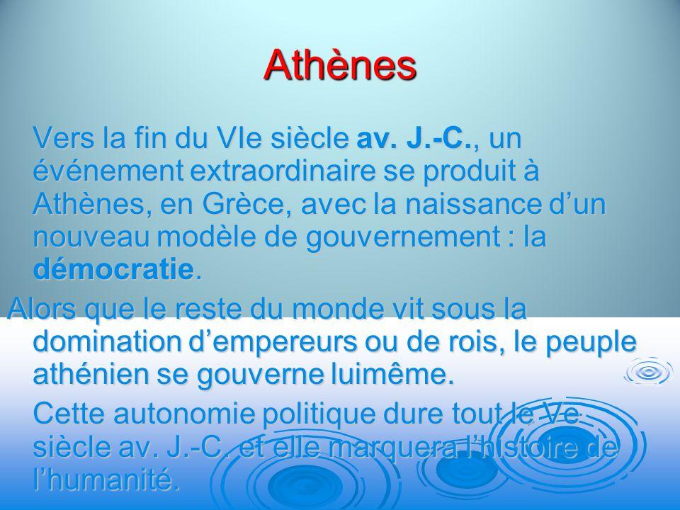Athènes Vers la fin du VIe siècle av. J.-C., un événement extraordinaire se produit à Athènes, en Grèce, avec la naissance dun nouveau modèle de gouve