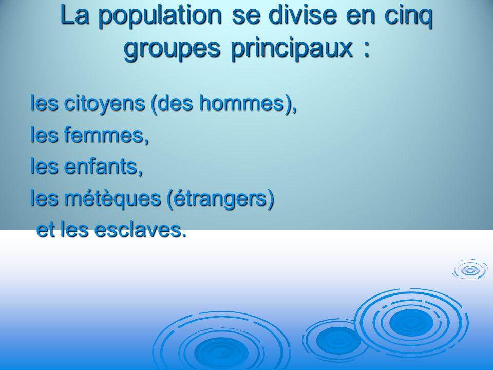 La population se divise en cinq groupes principaux : les citoyens (des hommes), les femmes, les enfants, les métèques (étrangers) et les esclaves. et
