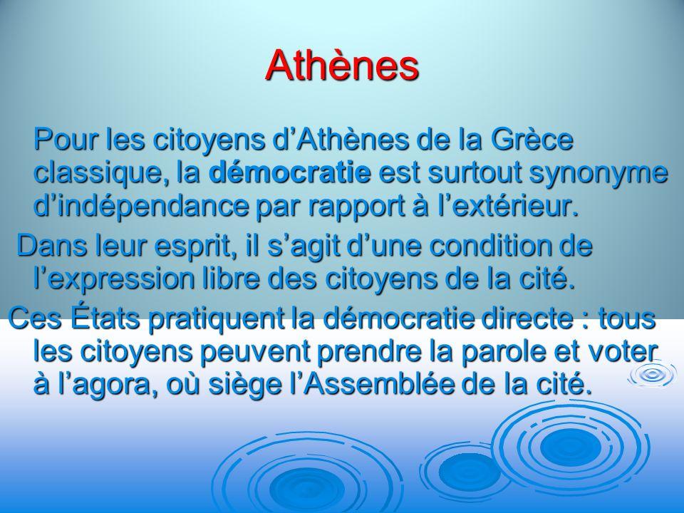 Athènes Pour les citoyens dAthènes de la Grèce classique, la démocratie est surtout synonyme dindépendance par rapport à lextérieur. Dans leur esprit,