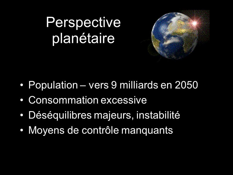 Perspective planétaire Population – vers 9 milliards en 2050 Consommation excessive Déséquilibres majeurs, instabilité Moyens de contrôle manquants