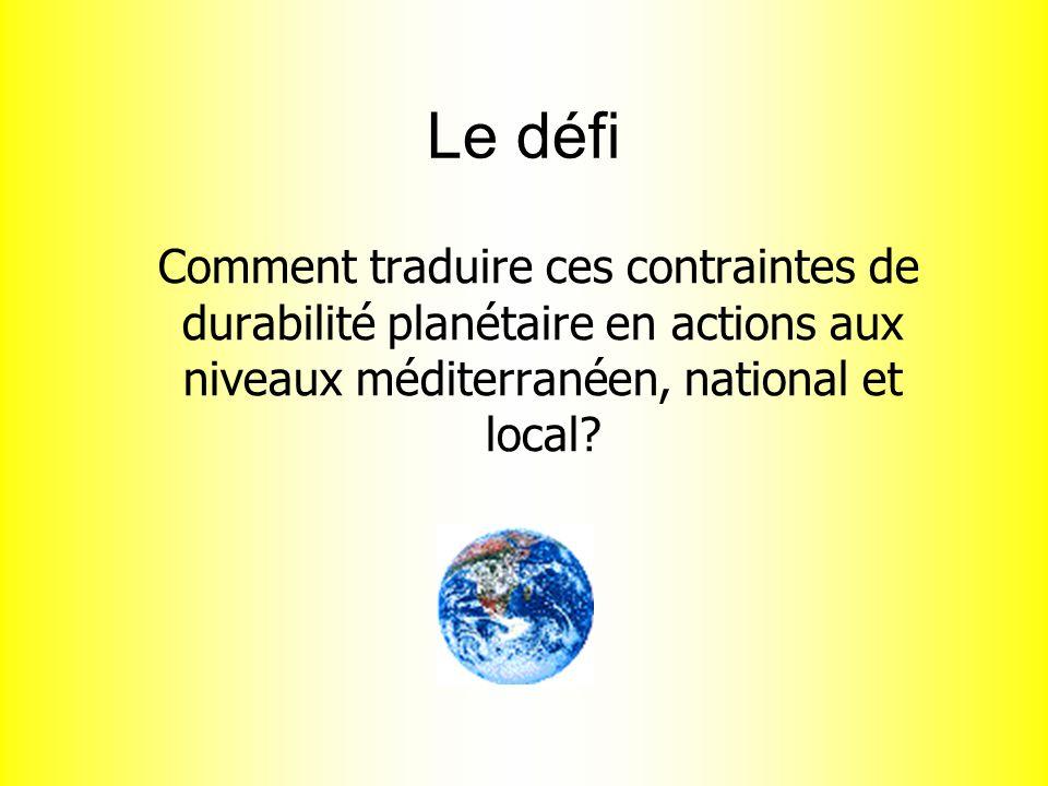Le défi Comment traduire ces contraintes de durabilité planétaire en actions aux niveaux méditerranéen, national et local?