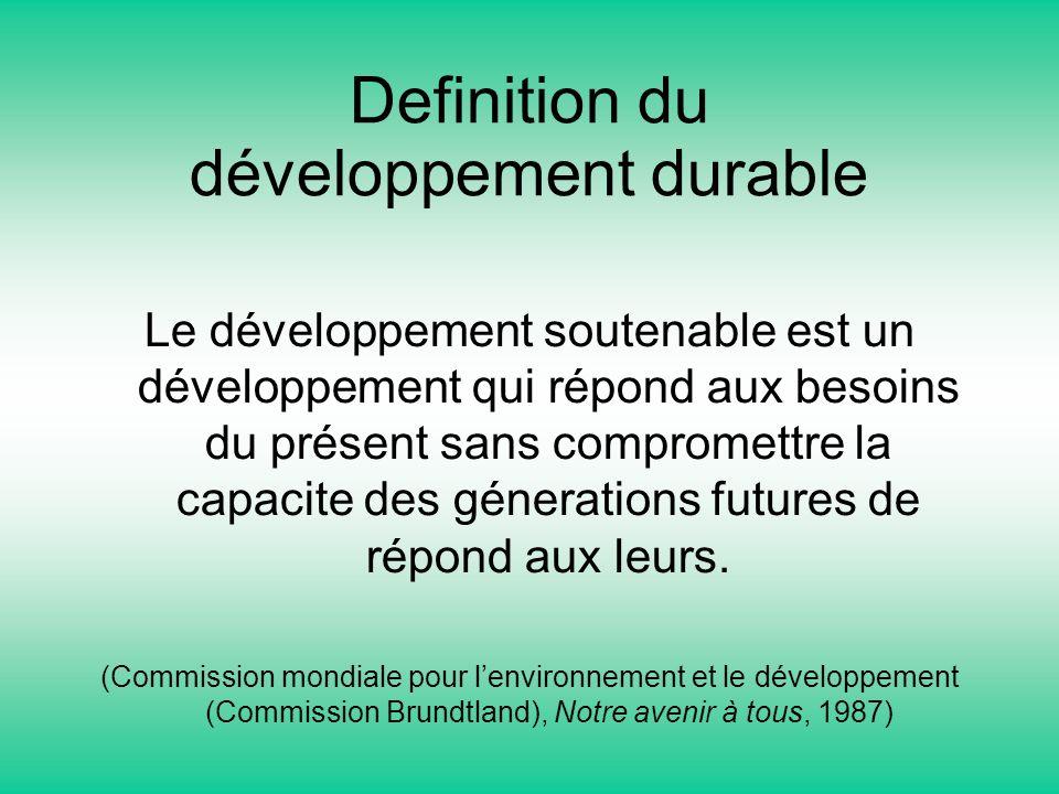 Definition du développement durable Le développement soutenable est un développement qui répond aux besoins du présent sans compromettre la capacite d